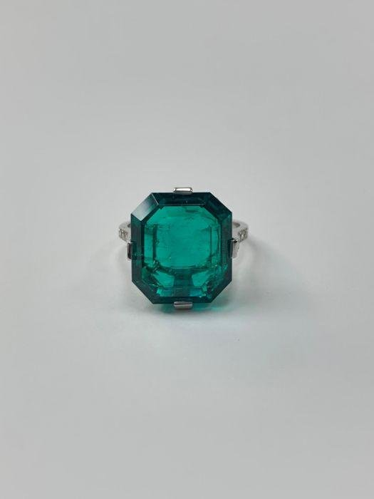 Art Deco Signed and Number Cartier Emerald and Diamond