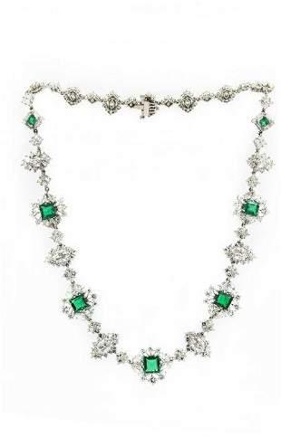Exquisite Platinum Colombian Emerald Diamond Necklace