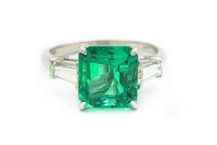 Estate Platinum Diamond and Colombian Emerald Ring