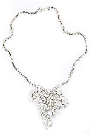 Estate Platinum White Gold and Diamond Heart Necklace