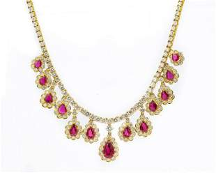 Contemporary Yellow Gold Ruby and Diamond Necklace
