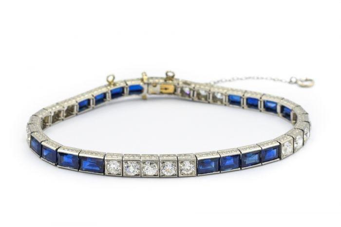 Tiffany & Co Art Deco Platinum Diamond and Sapphire