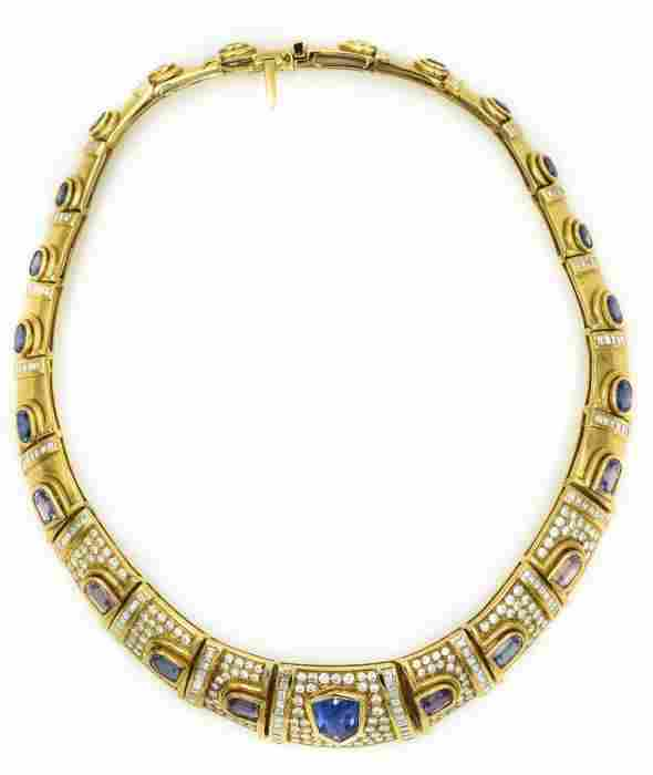 1980's Yellow Gold Diamond Pink and Blue Sapphire
