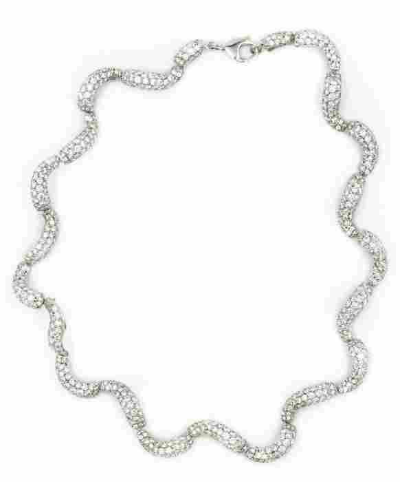 Contemporary Platinum and Diamond Necklace