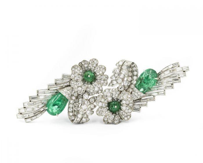 Art Deco Platinum Emerald and Diamond Double Clip