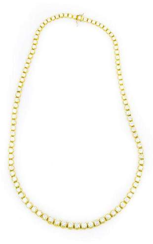 Contemporary Yellow Gold and Diamond Riviere Necklace
