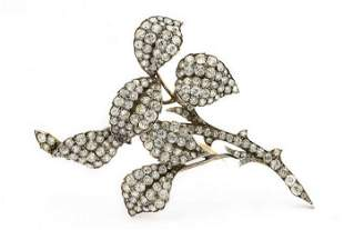 Victorian Yellow Gold Silver Topped Diamond Flower