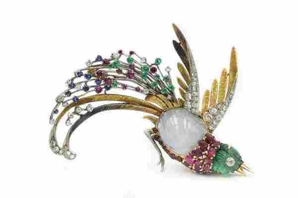 1960's Yellow Gold Diamond and Gemstone Bird Of