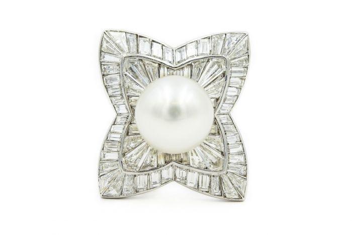1950's Platinum Pearl and Diamond Clip