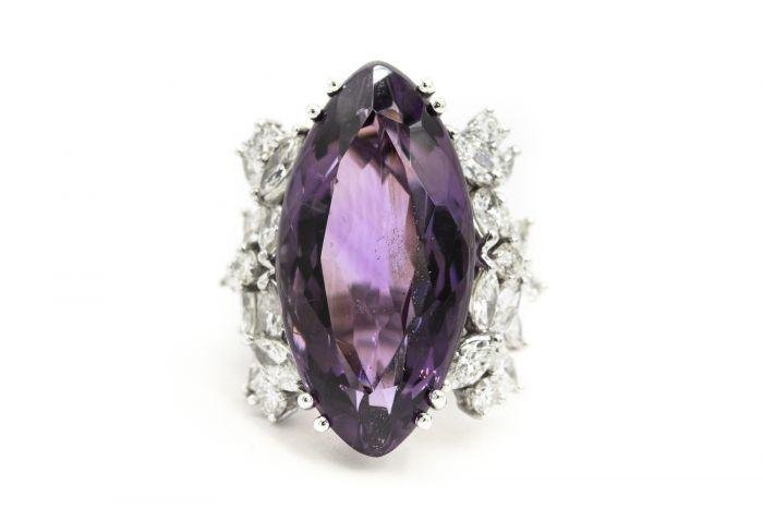 1970's White Gold Diamond and Amethyst Ring