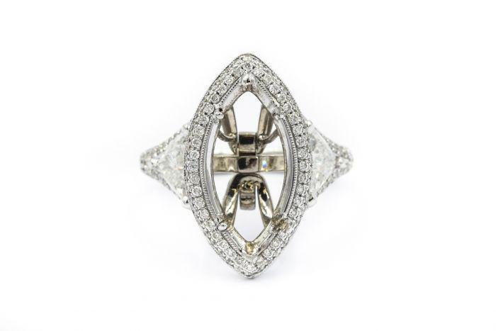 Estate 1980's 18k White Gold and Diamond Ring Mounting