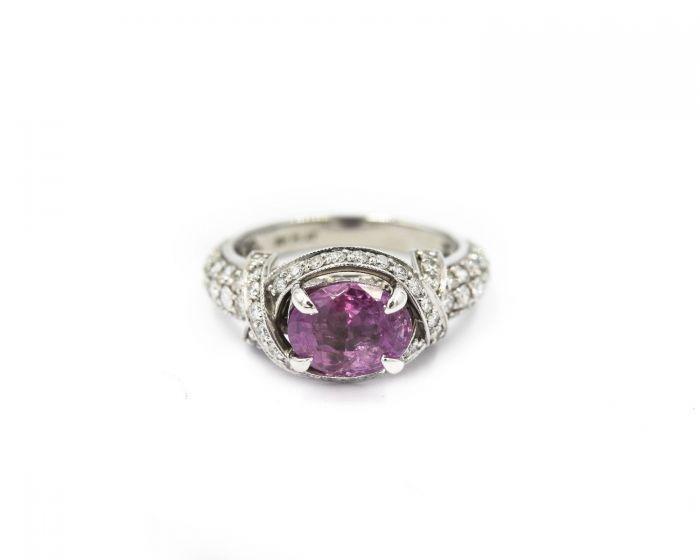Contemporary Platinum Diamond and Fancy Color Sapphire