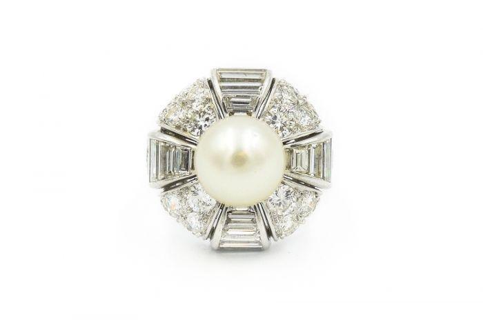 1960's Estate Platinum Diamond and Pearl Ring