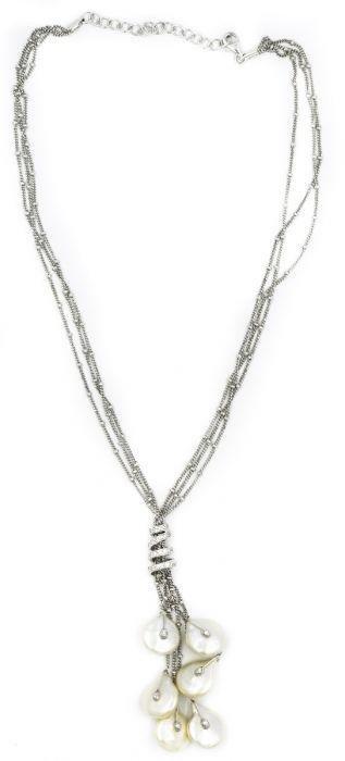 Contemporary White Gold Diamond and Biwa Pearl Necklace