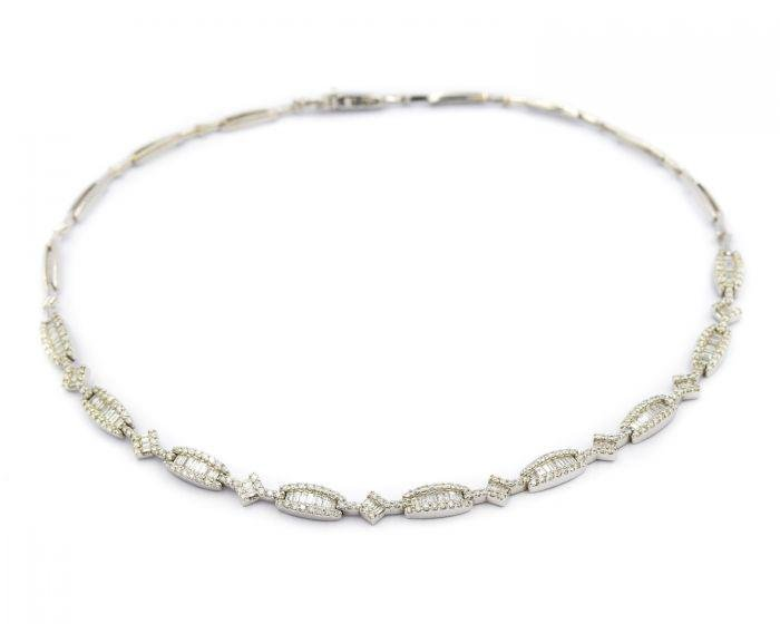 Contemporary White Gold and Diamond Necklace
