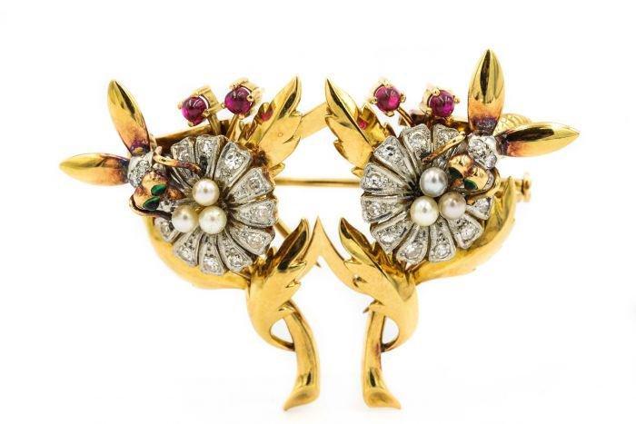 Retro Yellow Gold Diamond Pearl and Gemstone Brooch