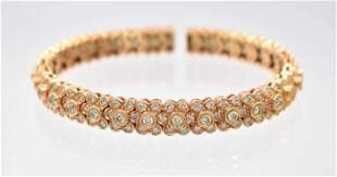 Contemporary Sonia B Rose Gold and Diamond Bracelet