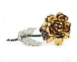 Retro Yellow Gold Diamond and Sapphire Flower Brooch