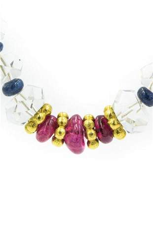 Contemporary Yellow Gold Ruby Sapphire and Rock Crystal