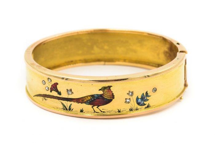 Victorian French Yellow Gold Diamond and Enamel Bangle