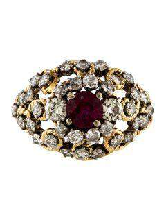 1970s Vintage Style Yellow Gold Diamond and Ruby Dome