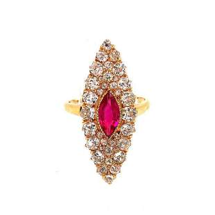 Victorian Yellow Gold Diamond and Red Stone Ring
