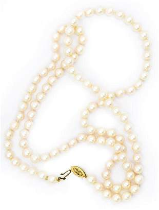 Contemporary Strand of Pearls with Yellow Gold Clasp