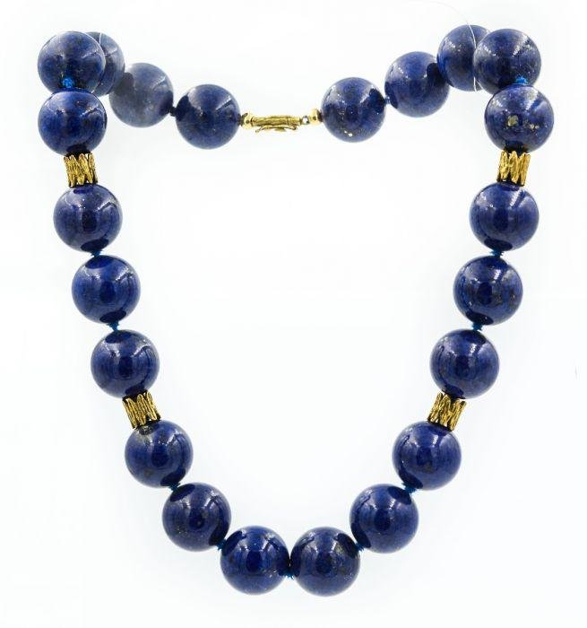 Estate 1970's Yellow Gold and Sodalite Bead Necklace