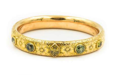 Estate 1940's Yellow Gold and Gemstone Bangle Bracelet