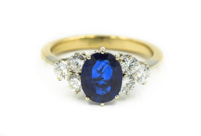 Contemporary Yellow Gold Diamond and Sapphire Ring with