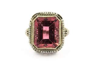 Art Deco White Gold Pink Tourmaline and Natural Pearl