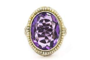 Art Deco White Gold Amethyst and Natural Pearl Ring