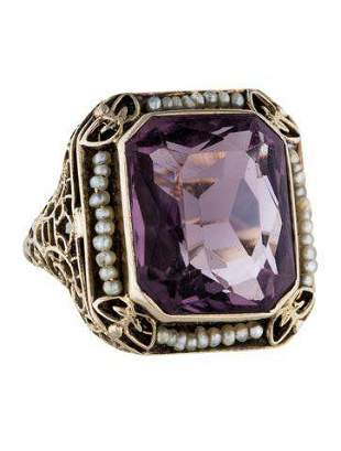 Art Deco White Gold Seed Pearl and Amethyst Filigree