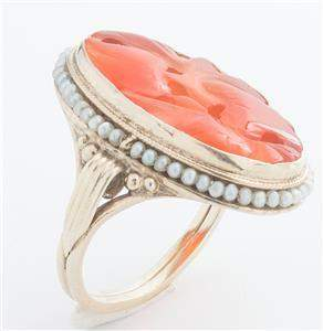 Victorian Yellow Gold Carved Orange Red Agate and Seed