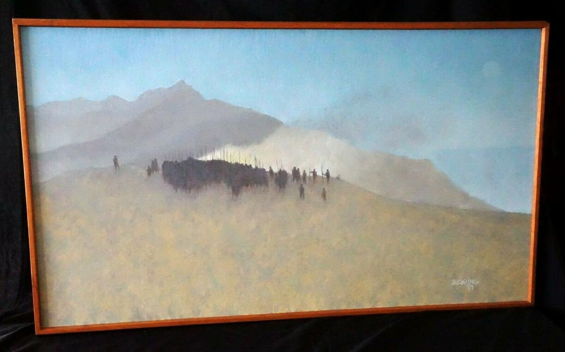 Hawaii Oil Painting Tribal Gathering BC Kieling