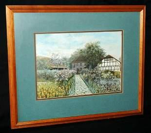 German Koa Frame Watercolor Farm Flower Path