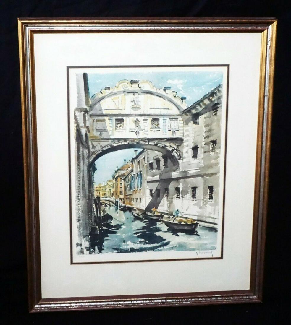 Vintage Belgian Print Venetian Canals Roger Hebbelinck