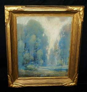 NY Pastel Period Frame Forest Views Edward Morey