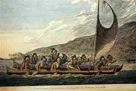 English Print Canoe Sandwich Islands Masked Webber