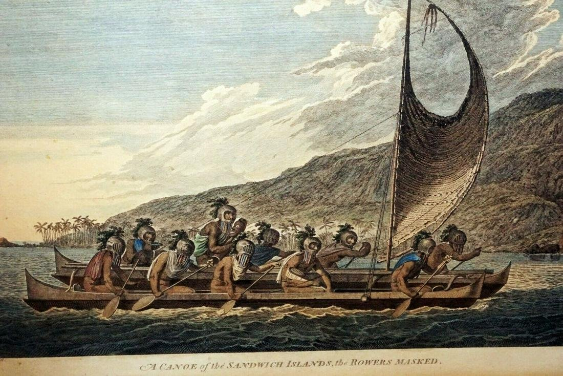 English Print Canoe Sandwich Islands Masked Webber