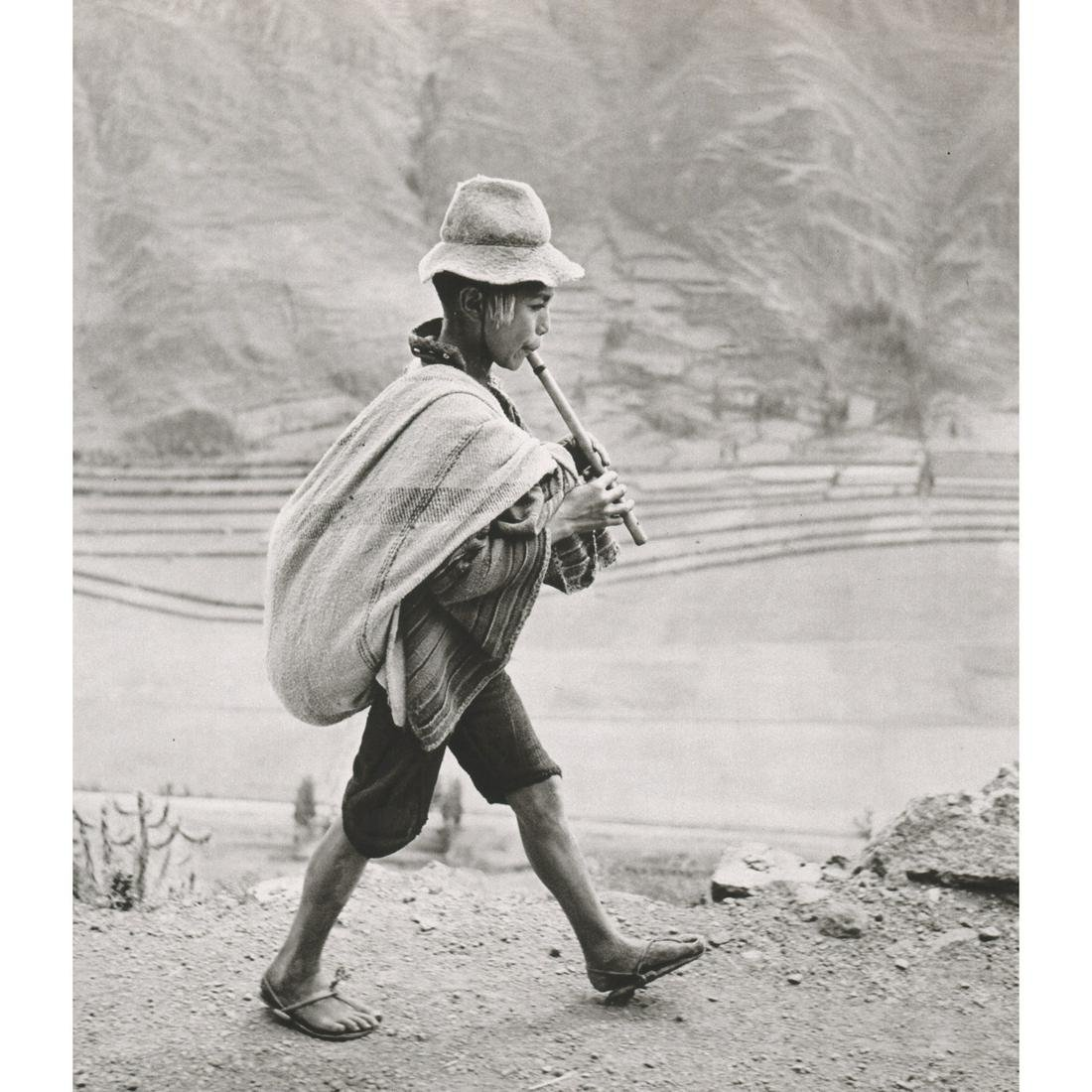 WERNER BISCHOF - Flute Player on his way to Cuzco
