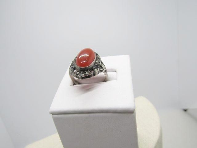 Vintage Sterling Carnelian Marcasite Ring, Uncas, Art