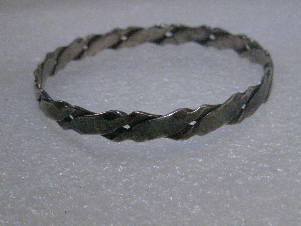 Vintage Sterling Silver Bangle Bracelet, 6.5mm