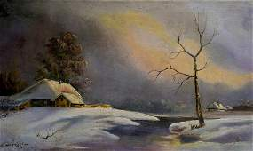 Oil painting Winter fairy tale
