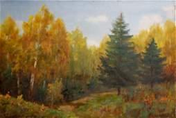 Oil painting Dense forest Konstantin Pavlovich Golovkin