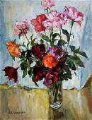 Oil painting Flowers in a vase on the table Peter