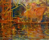 Oil painting Ship in port Atayan Armen Arshakovich