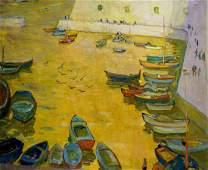 Oil painting Boat pier Sakhnenko Victor Ivanovich