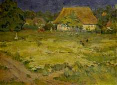 Oil painting Village Mynka Alexander Fedorovich