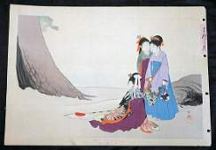 1890s Japanese WB Print Women on Beach Mizuno Toshikata